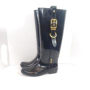 "Coach ""Tasha""  black rubber rain boots"